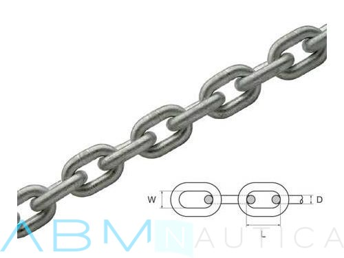 Hot-dip galvanized calibrated chain for winches 8 mm